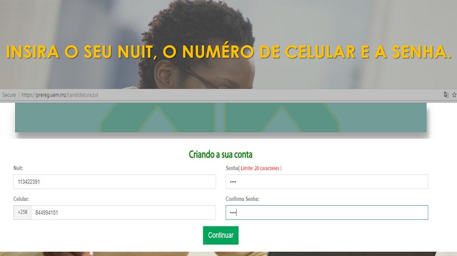 2. Crie uma conta, insira o seu NUIT, número de celular e senha, clica em continuar