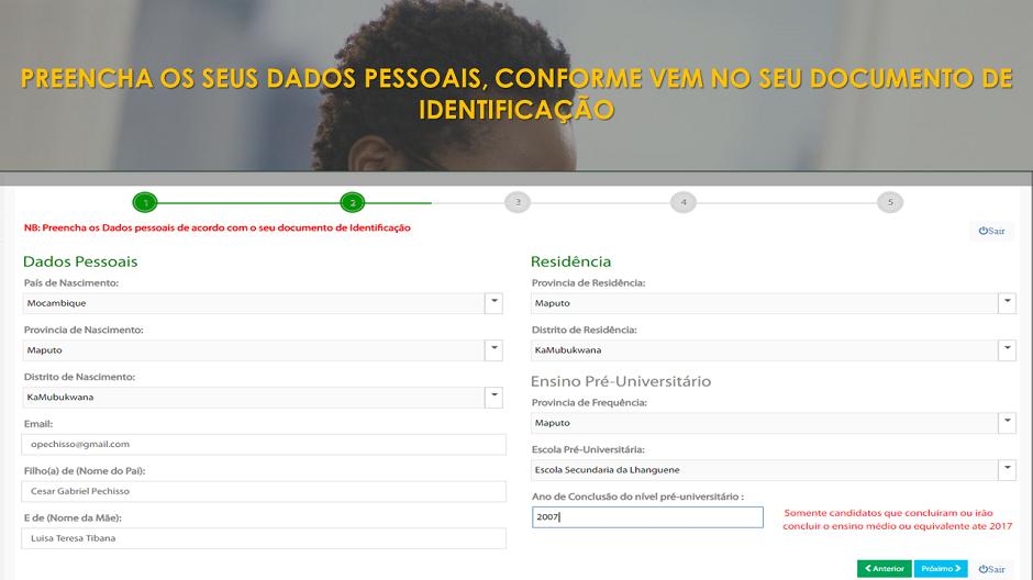 4. Preencha seus dados pessoais, clica em próximo