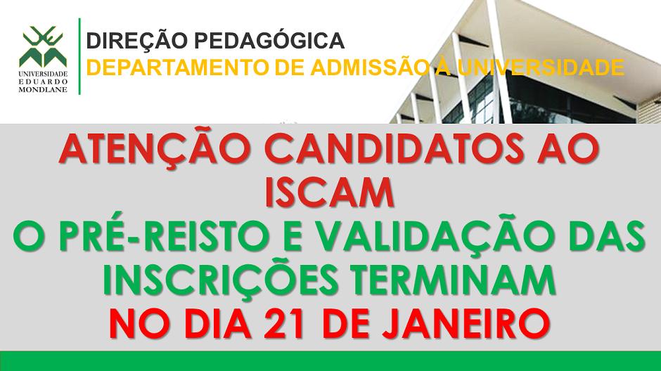 ATENÇÃO CANDIDATOS AO ISCAM