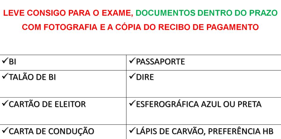 Para o Exame