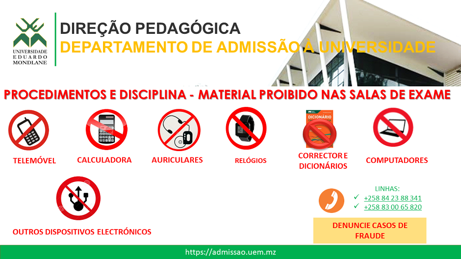 Material Proibido na Sala de Exame